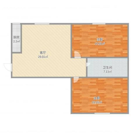 职高小区2室1厅1卫1厨98.00㎡户型图
