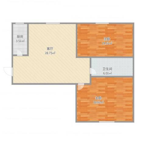 职高小区2室1厅1卫1厨95.00㎡户型图