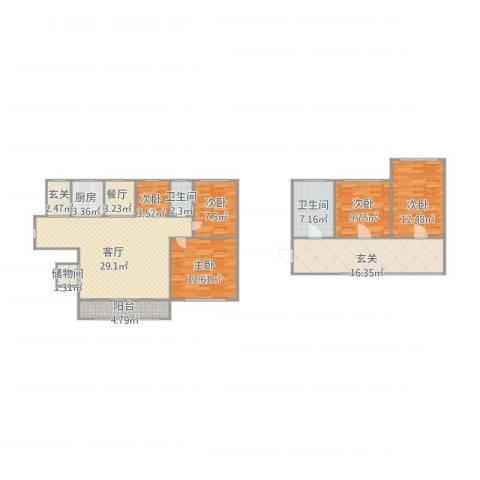 众益阳光海岸5室2厅2卫1厨157.00㎡户型图