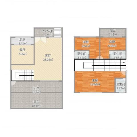 永怡聚豪园峯度B区2幢103室2厅3卫1厨133.00㎡户型图