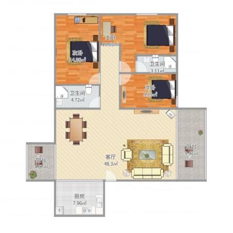 时尚丽居7013室1厅2卫1厨157.00㎡户型图