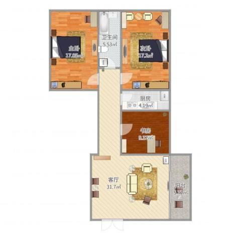 赤岗路大院3室1厅1卫1厨122.00㎡户型图
