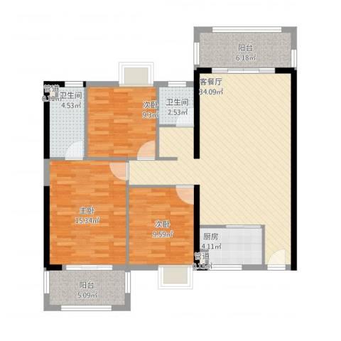 富雅国际3室1厅4卫1厨129.00㎡户型图