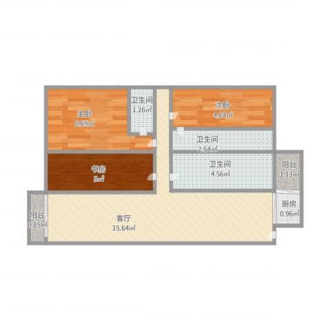 金域湾3室1厅3卫1厨62.00㎡户型图