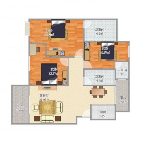 金域湾7023室1厅3卫1厨126.00㎡户型图