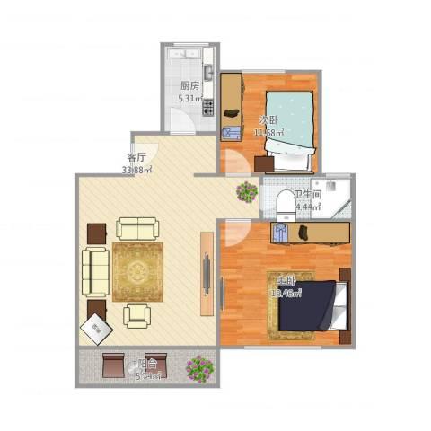 明丰花园2室1厅1卫1厨108.00㎡户型图