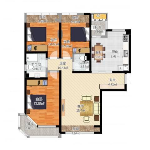 陆家嘴锦绣前城3室1厅2卫1厨153.00㎡户型图