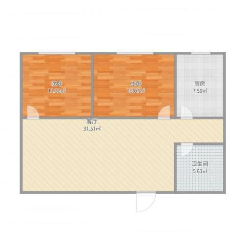 云华园2室1厅1卫1厨92.00㎡户型图
