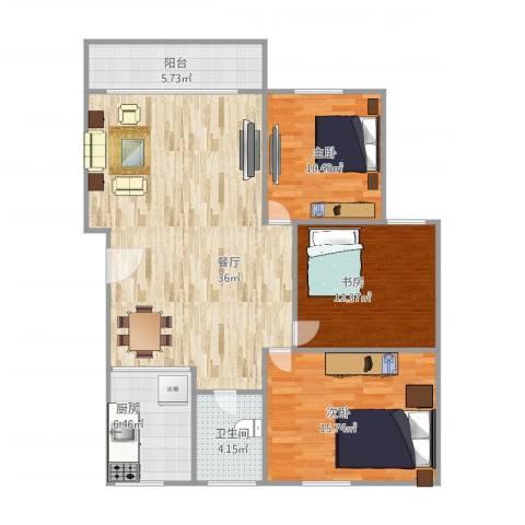 前埔二里3室1厅1卫1厨121.00㎡户型图