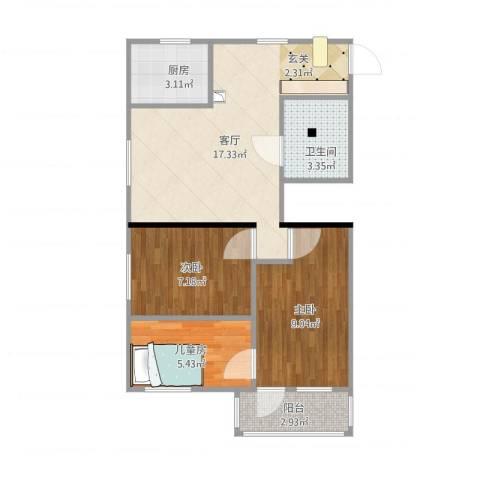 裕中西里3室1厅1卫1厨67.00㎡户型图