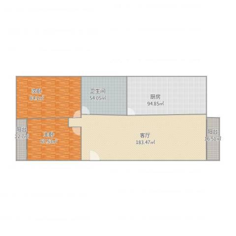 怡乐居2室1厅1卫1厨528.03㎡户型图