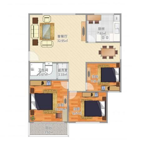 岭兜小区3室2厅1卫1厨108.00㎡户型图