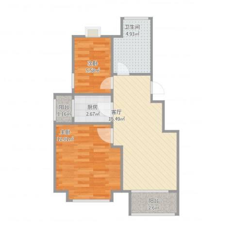 惠新西街33号院2室1厅1卫1厨61.00㎡户型图