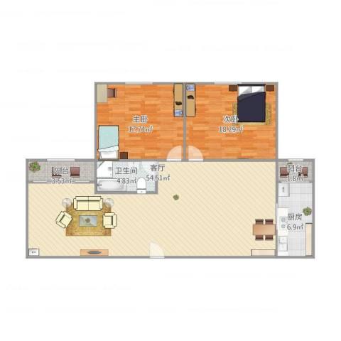 新加坡园景苑2室1厅1卫1厨142.00㎡户型图