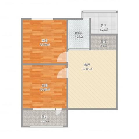 岗林里2室1厅1卫1厨68.00㎡户型图