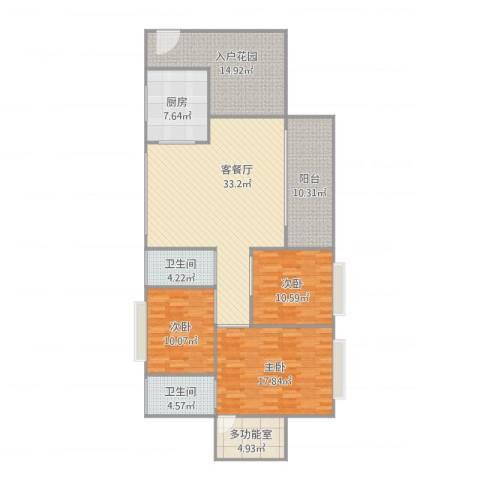 名雅豪庭3栋11033室1厅2卫1厨159.00㎡户型图