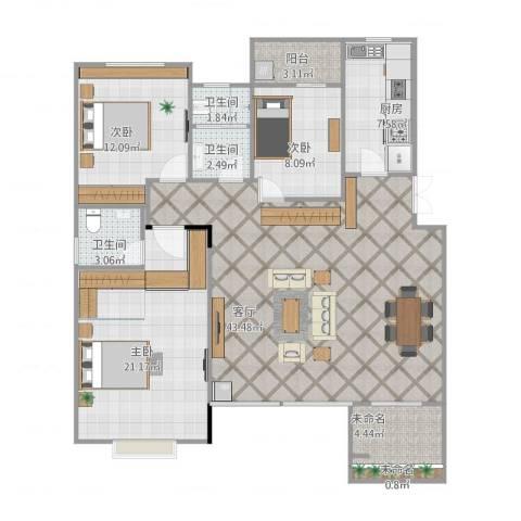 宝龙城市广场3室1厅5卫1厨145.00㎡户型图