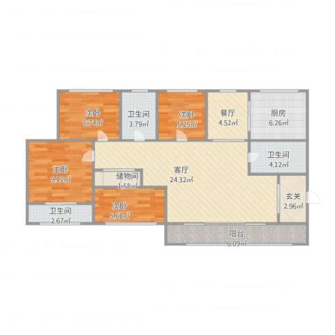 众益阳光海岸11111111111114室2厅3卫1厨114.00㎡户型图