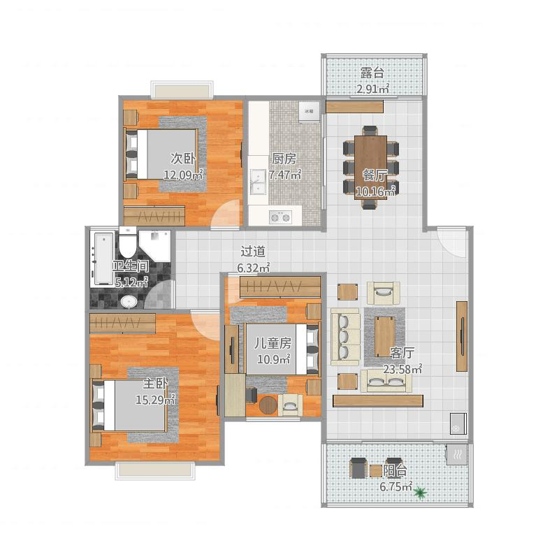 六安香格里拉多层两卧朝南三房户型108平
