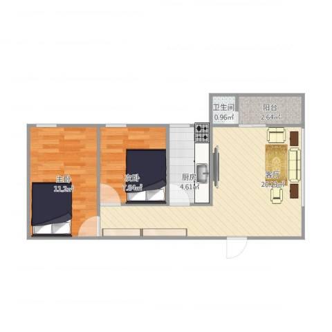 怡和新村2室1厅1卫1厨64.00㎡户型图
