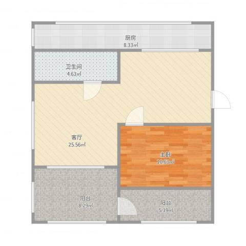 帝欧花园1室1厅1卫1厨85.00㎡户型图