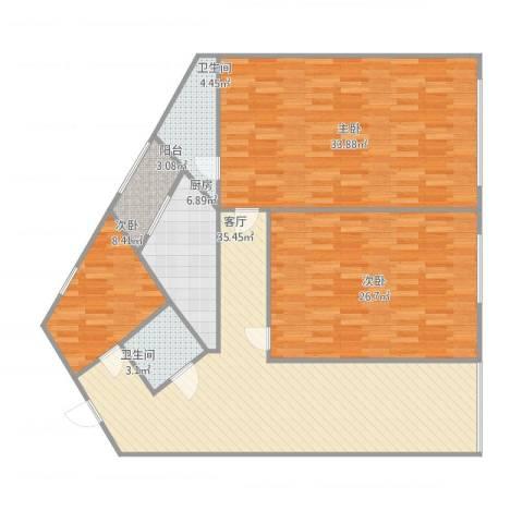 海景豪庭3室1厅2卫1厨162.00㎡户型图
