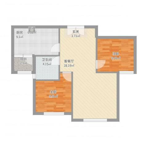 天房海天园2室1厅1卫1厨88.00㎡户型图