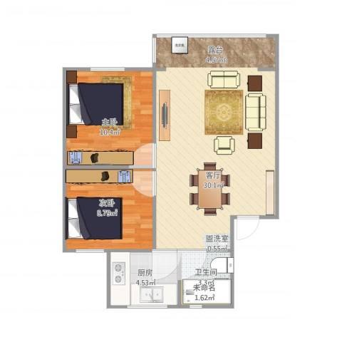 石桥铺百合小区2室1厅1卫1厨76.00㎡户型图