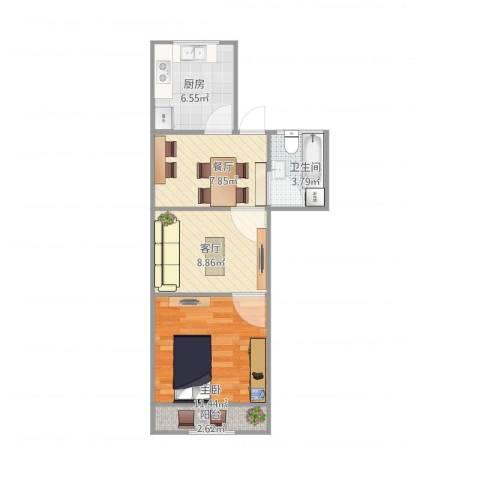 汪家井小区1室2厅1卫1厨56.00㎡户型图