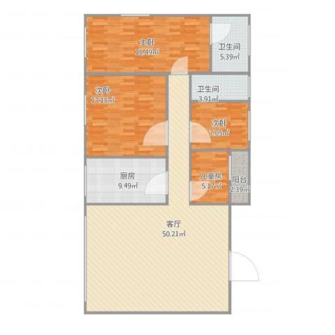 名苑华庭8座9014室1厅3卫1厨156.00㎡户型图