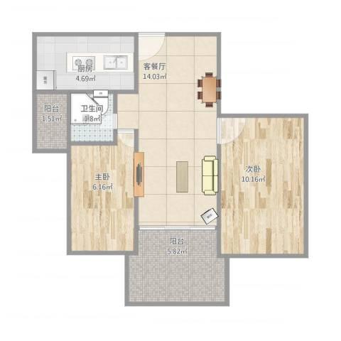 天鹭大厦2室1厅1卫1厨61.00㎡户型图
