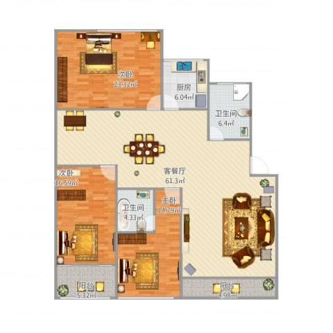 梅花苑3室1厅2卫1厨190.00㎡户型图