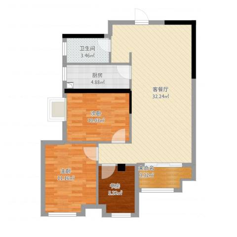 观庭金色世家3室1厅1卫1厨100.00㎡户型图