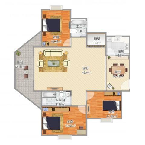 莫奈印象3室2厅2卫1厨174.00㎡户型图
