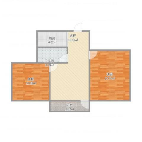 闵子骞路单位宿舍2室1厅1卫1厨81.00㎡户型图