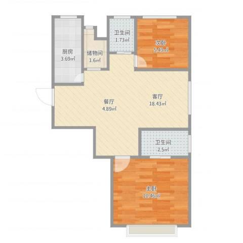 新天家园2号3012室1厅2卫1厨60.00㎡户型图