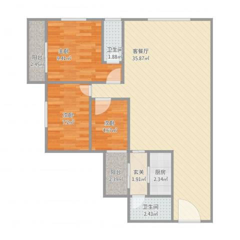 碧翠豪城3室1厅2卫1厨96.00㎡户型图