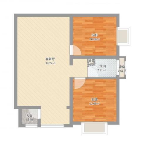 紫薇臻品2室1厅2卫1厨87.00㎡户型图