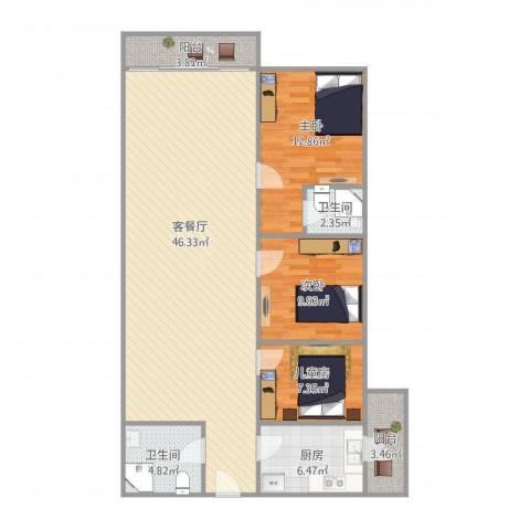 御祥豪庭3室1厅2卫1厨104.42㎡户型图