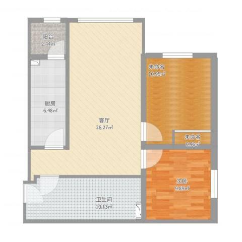 松浦观江国际1室1厅3卫1厨95.00㎡户型图