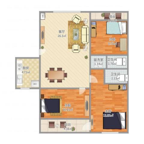 恒泉花园3室2厅2卫1厨102.00㎡户型图