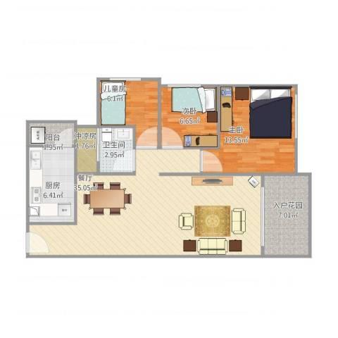 碧桂园天麓山3室1厅1卫1厨111.00㎡户型图