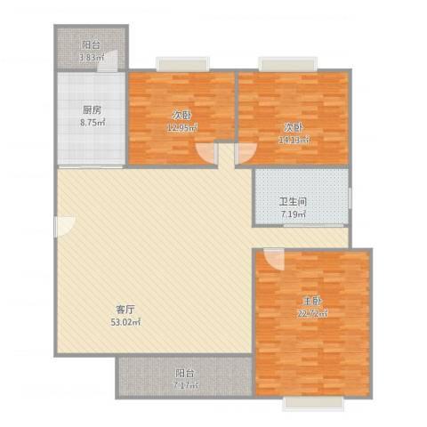 丽日玫瑰3室1厅1卫1厨172.00㎡户型图