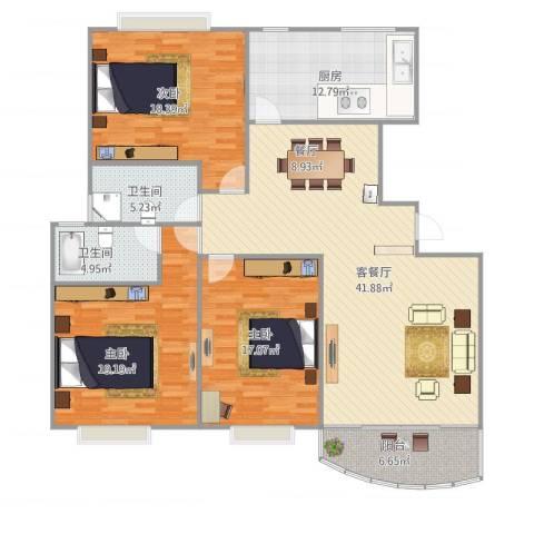 万邦都市花园四、五期3室1厅2卫1厨168.00㎡户型图