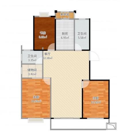 海韵花园3室1厅2卫1厨118.00㎡户型图