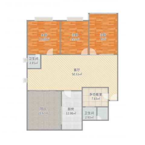 东建世纪广场3室2厅2卫1厨192.00㎡户型图