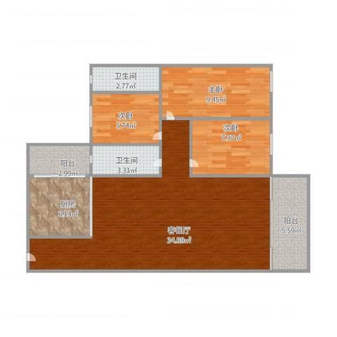信盈楼3室1厅2卫1厨106.00㎡户型图