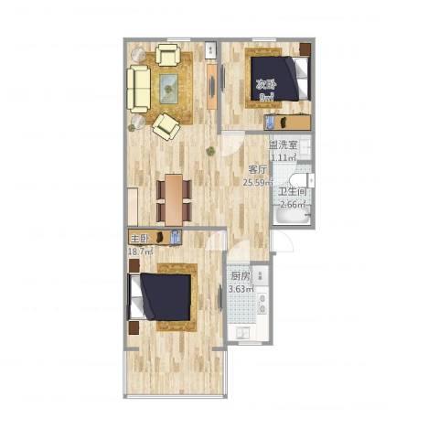 永康苑2室2厅1卫1厨80.00㎡户型图