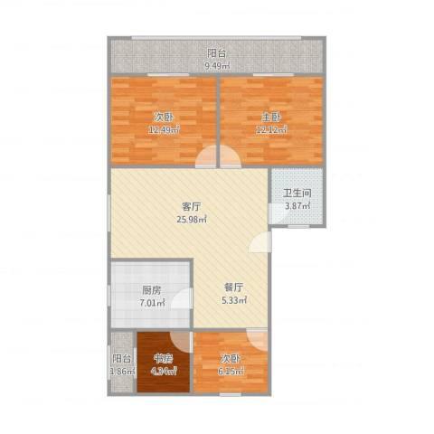 三门路485弄小区4室1厅1卫1厨113.00㎡户型图