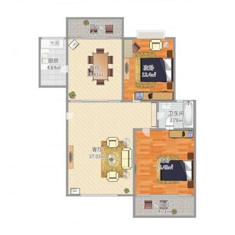 凯德嘉博名邸2室2厅1卫1厨115.00㎡户型图